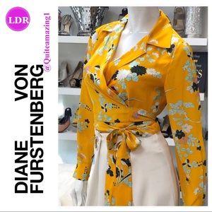 DIANE VON FURSTENBERG Yellow Floral Silk Wrap Top